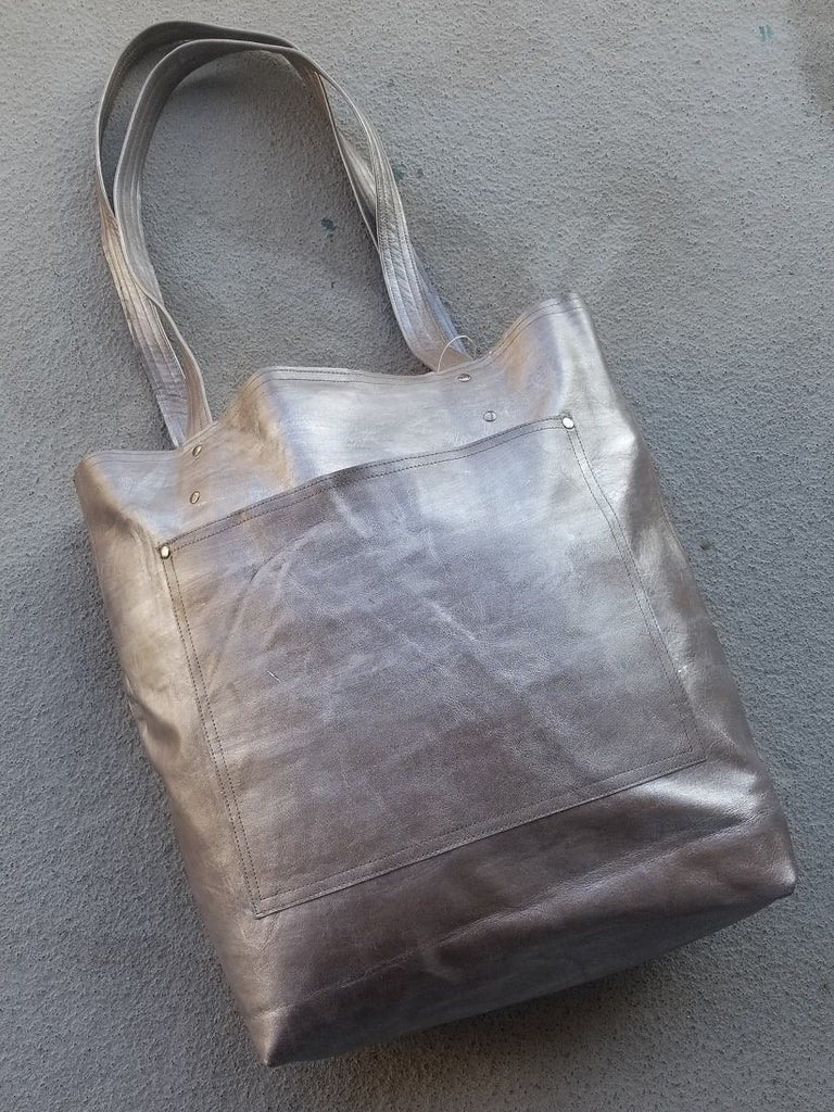 Rubbed Silver Leather Tote