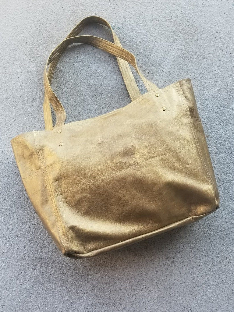 Rubbed Gold 3-Pocket Leather Tote