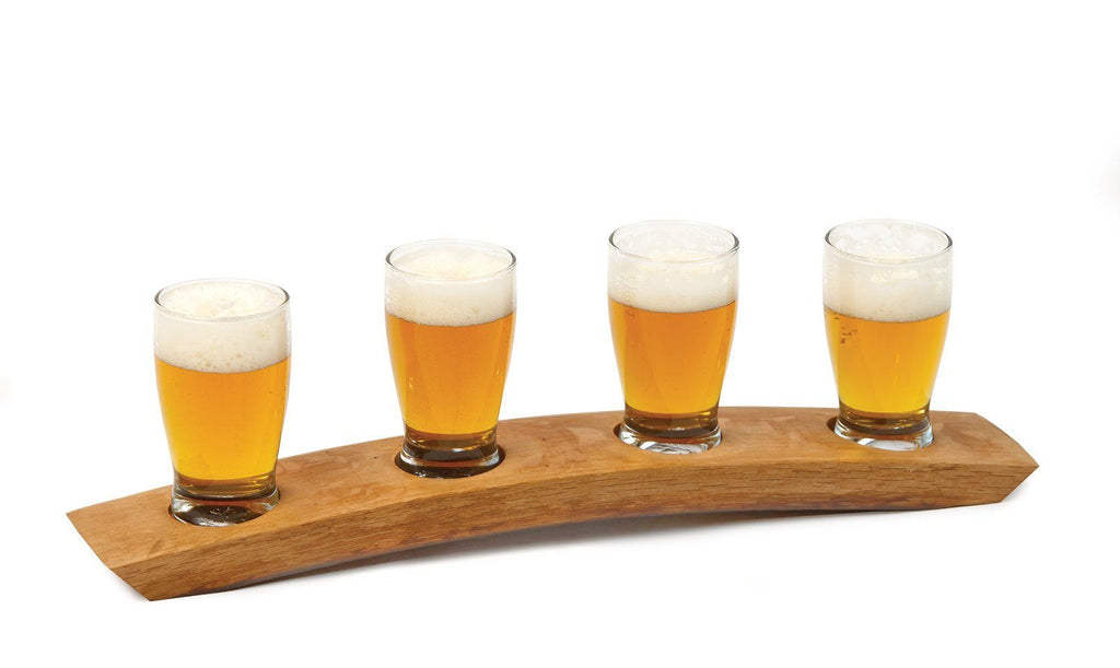 Craft Beer Taster Flight from Re-Purposed Genuine Barrels with 4 Glasses