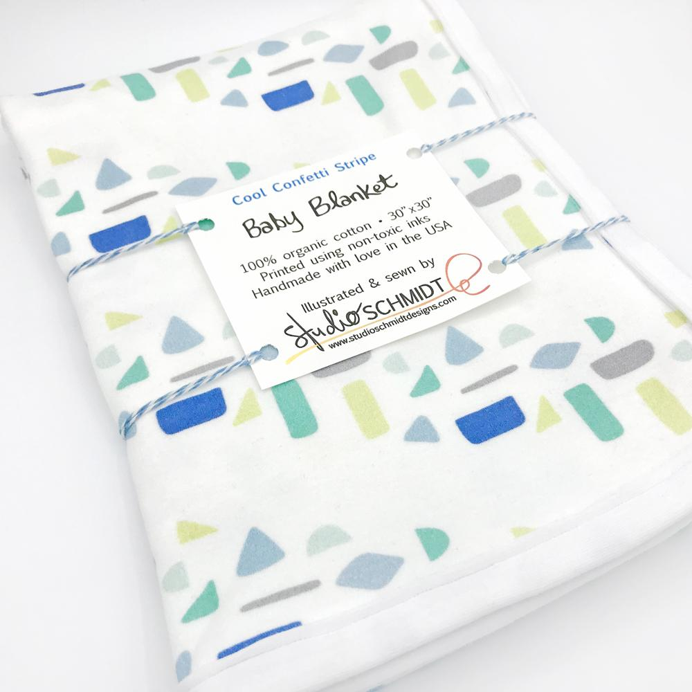 Cool Confetti Stripe Baby Receiving Blanket - Organic Cotton
