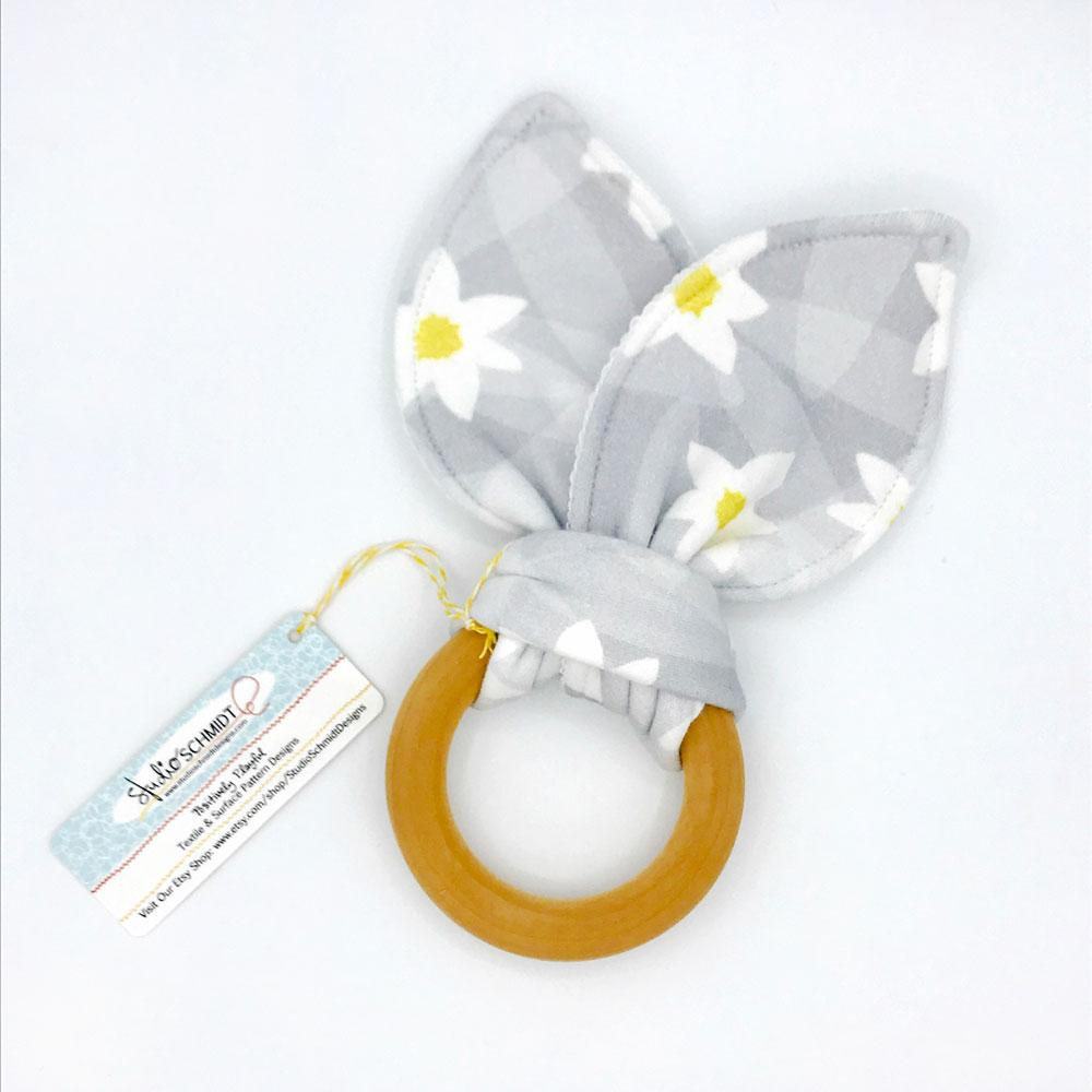 Lazy Daisy Baby Teether - Organic Cotton & Organic Maple Wood