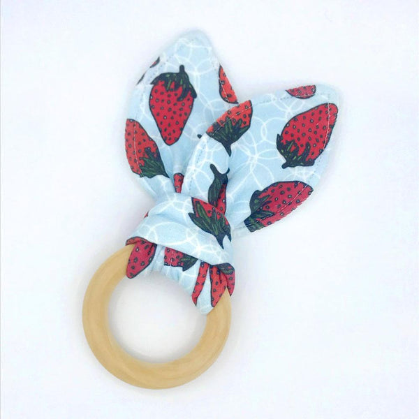 Bubbly Berries Baby Teether - Organic Cotton & Organic Maple Wood