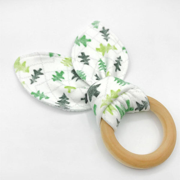Friendly Forest Baby Teether - Organic Cotton & Organic Maple Wood