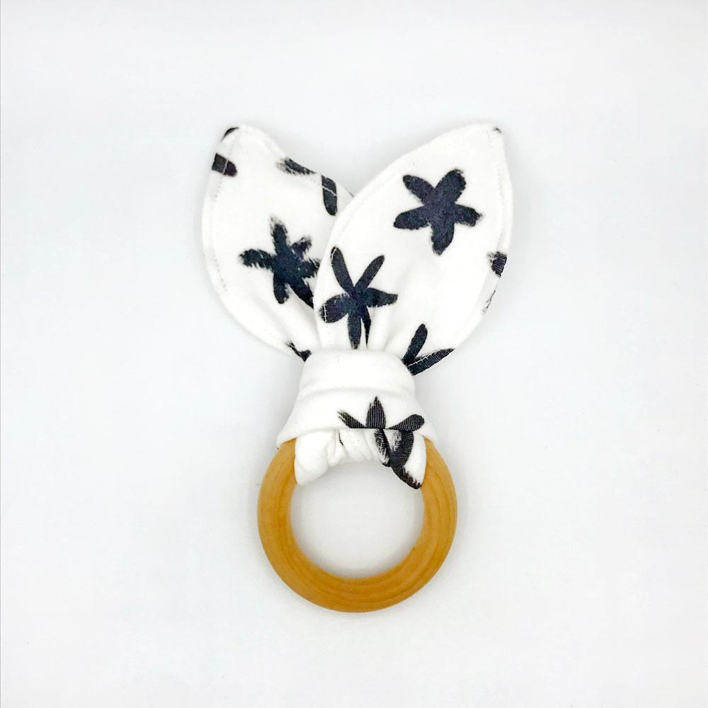 Starry Eyed Baby Teether - Organic Cotton & Organic Maple Wood