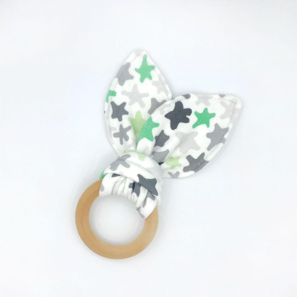 Starstruck Baby Teether - Organic Cotton & Organic Maple Wood