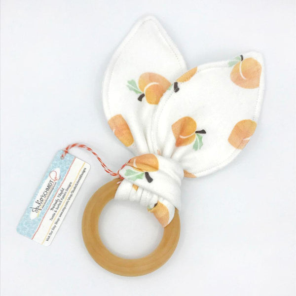 Peachy Keen Baby Teether - Organic Cotton & Organic Maple Wood
