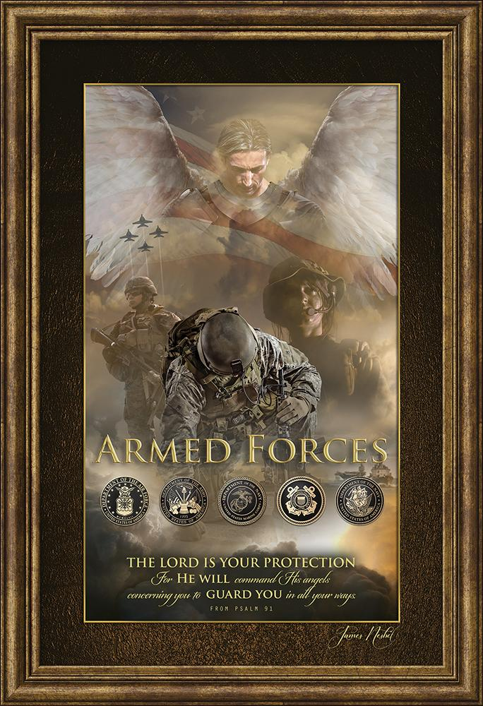 Angel of Protection For Military Framed Art