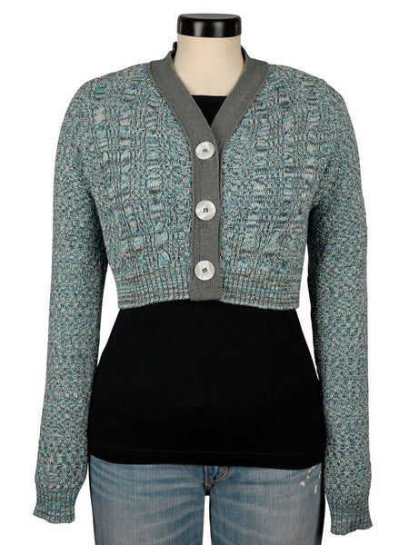 Green 3 Cropped Cardigan Sweater- Womens Recycled Cotton Knit Sweater