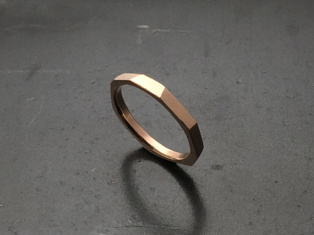 Architectural Stacking Ring I - 14k Rose Gold