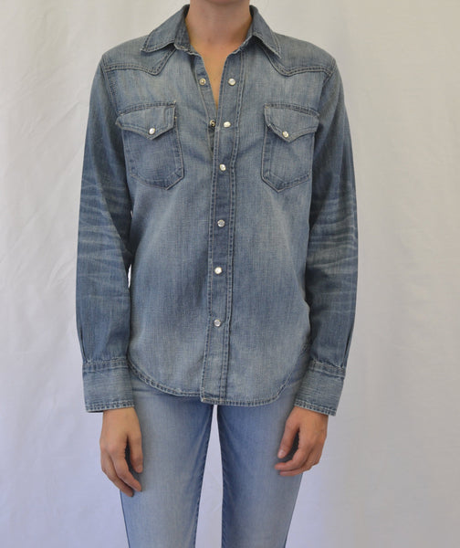 Snap Front Denim Western Shirt- Cotton/Hemp- Breath Wash