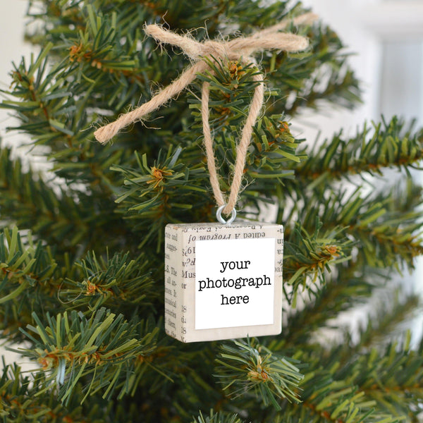 Customizable Mixed Media Salvaged Wood Holiday Tree Ornament