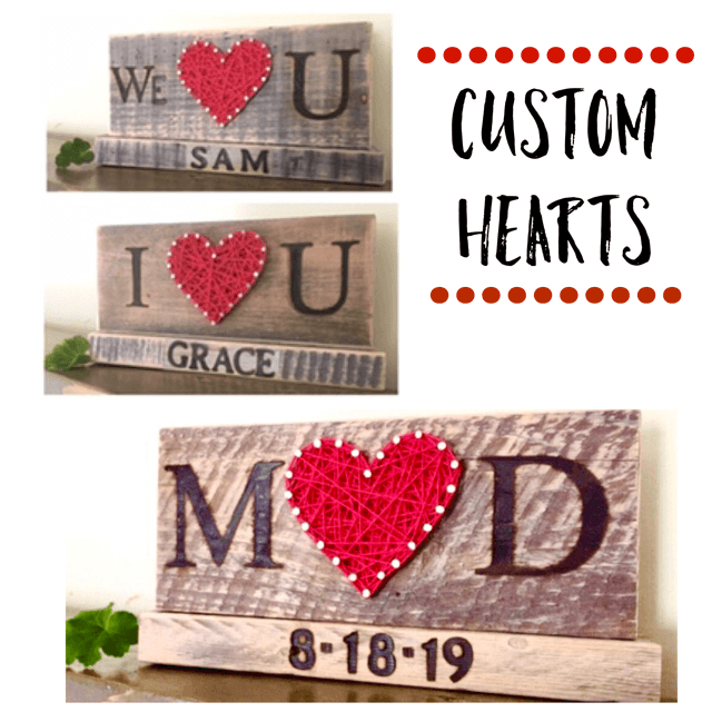 I love you & We love you custom heart with stand