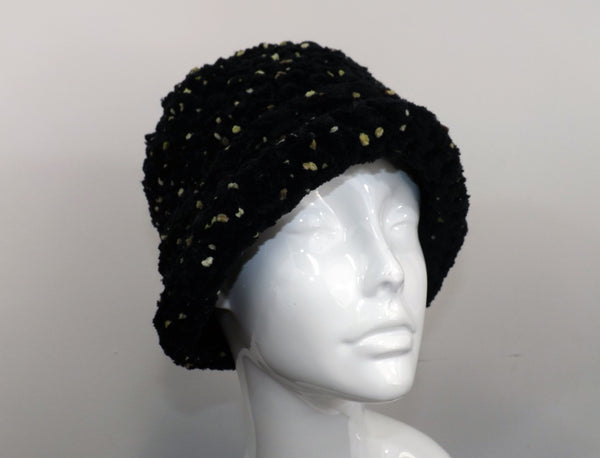 Reversible Shaped Plush Hat - Black With Olive Green Specks