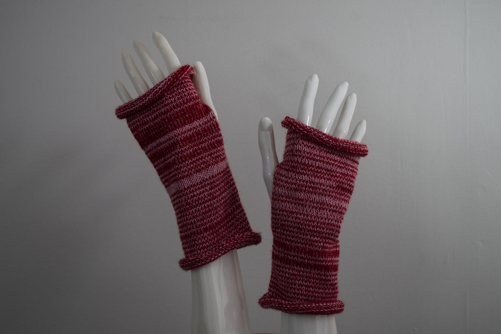 Knit Fingerless Gloves - Hand Warmers - Red and Pink