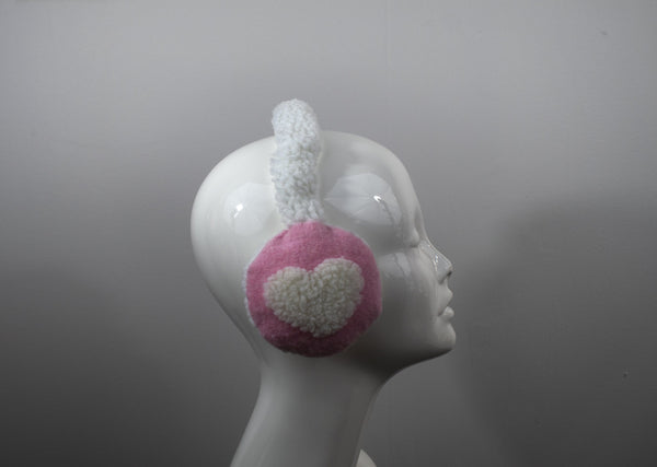 Adjustable Earmuffs, Ear Warmers - Pink With White Woolly Hearts