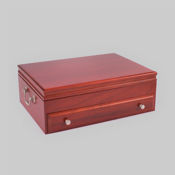 Bounty Flatware Chest, Solid American Cherry Hardwood with Heritage Cherry Finish & Anti-Tarnish Lining. Made in USA by AMISH Craftsmen.