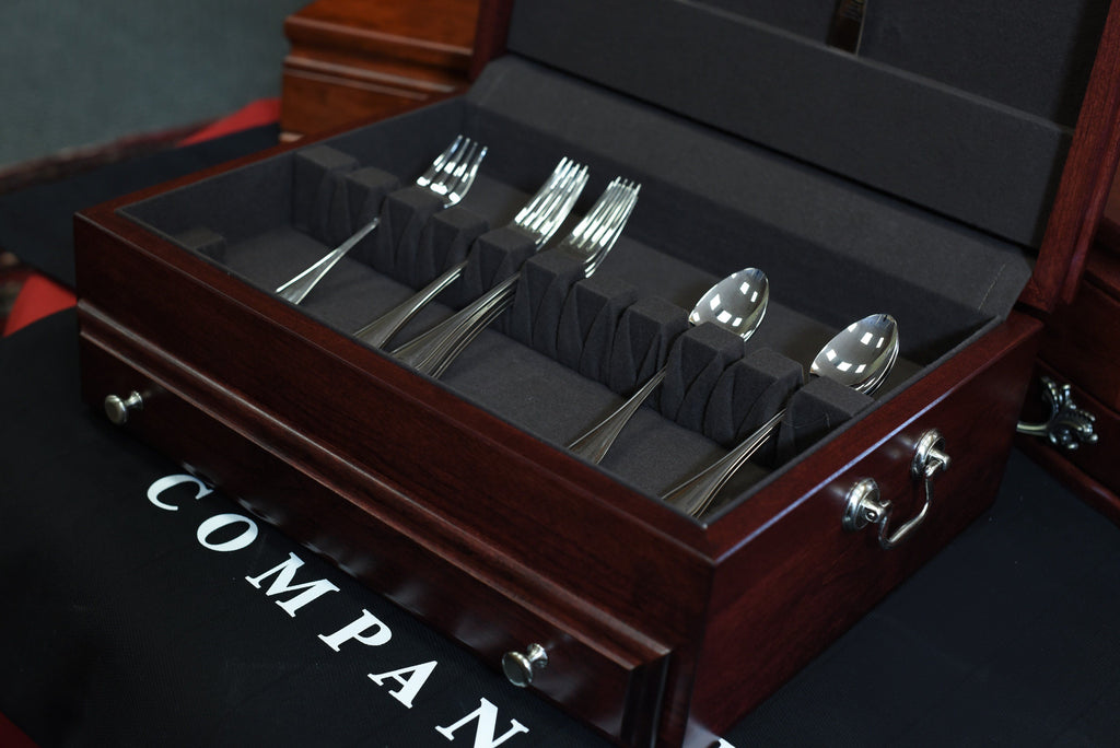 Bounty Flatware Chest, Solid American Cherry Hardwood with Rich Mahogany Finish & Anti-Tarnish Lining. Made in USA by AMISH Craftsmen!