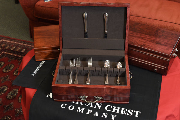 Grandeur Flatware Chest, Solid American Cherry Hardwood with Rich Mahogany Finish & Anti-Tarnish Lining. Made in USA by AMISH Craftsmen!