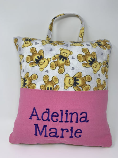 Personalized Teddy Bear Themed Reading Pillow With Pink Pocket