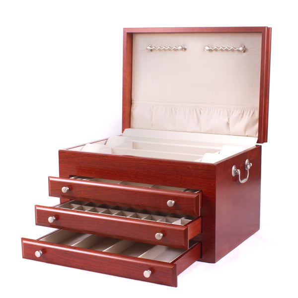 Majestic Jewel Chest, Solid American Cherry Hardwood with Heritage Cherry Finish.  Three Drawers & Made in USA!
