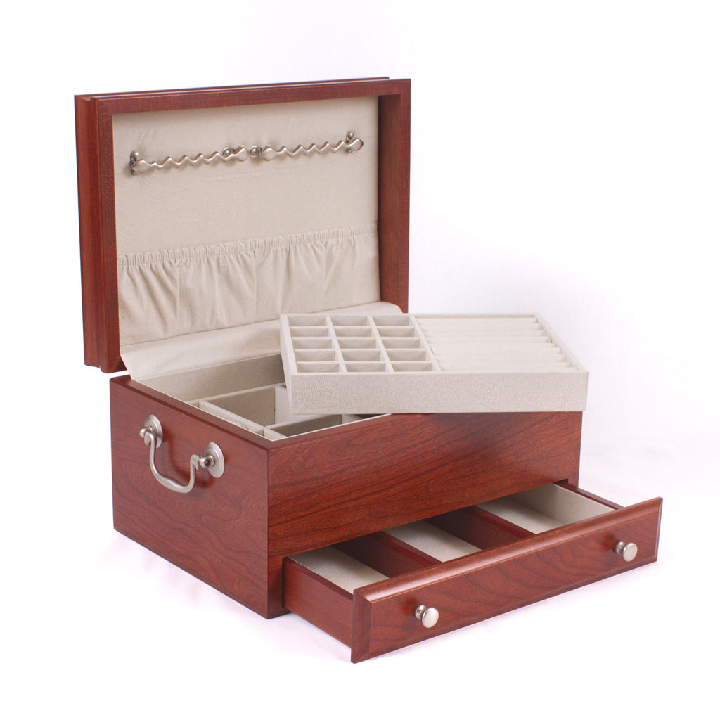Contessa Jewel Chest, Solid American Cherry Hardwood with Heritage Cherry Finish. Made in  USA!