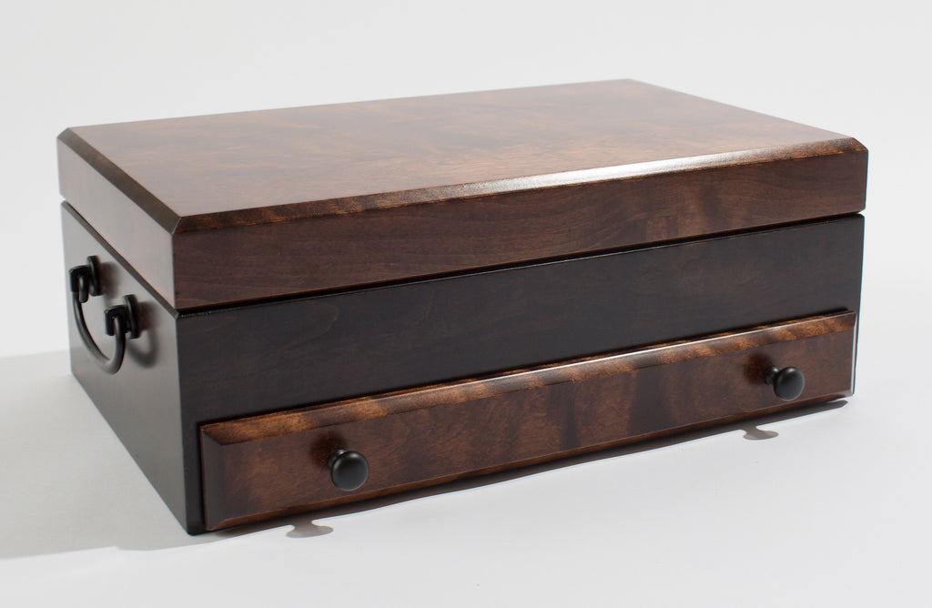 Flaming AMISH Birch, One-Drawer Jewel Chest.  Soft-Suede Linings,  AMISH Crafted & Made in USA!