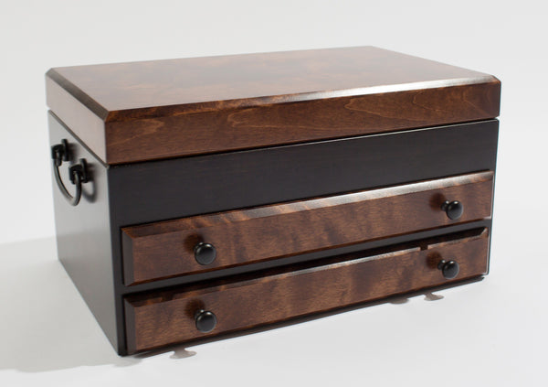 Flaming AMISH Birch, Two-Drawer Jewel Chest.  Soft-Suede Linings.  AMISH Crafted & Made in USA!