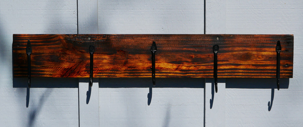 Coat Rack, Hooks, Hand Forged, Pallet Board