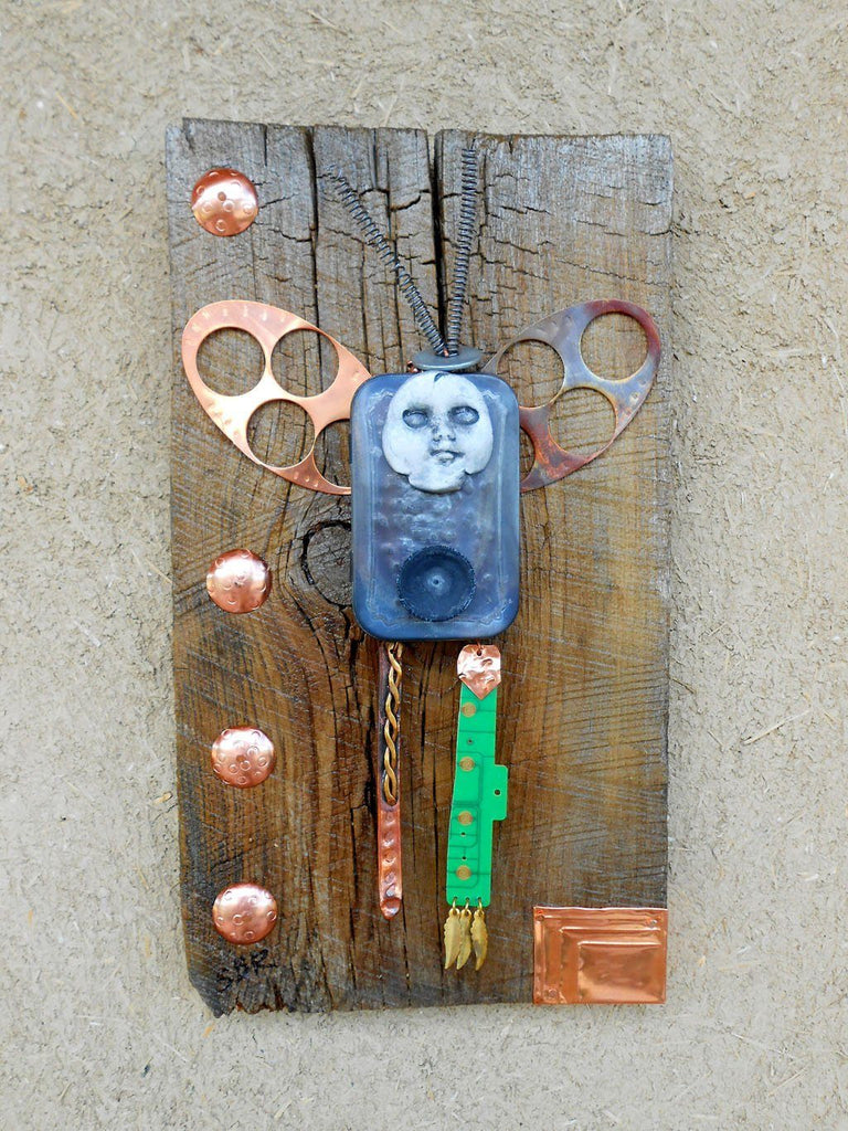 "Mixed Media Assemblage Figurative Sculpture ""Then I Flew"" One of a Kind"