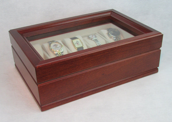 The Commander:  TEN Watch Glass Top Storage Chest. Solid Cherry with Heritage Cherry Finish. Made in USA