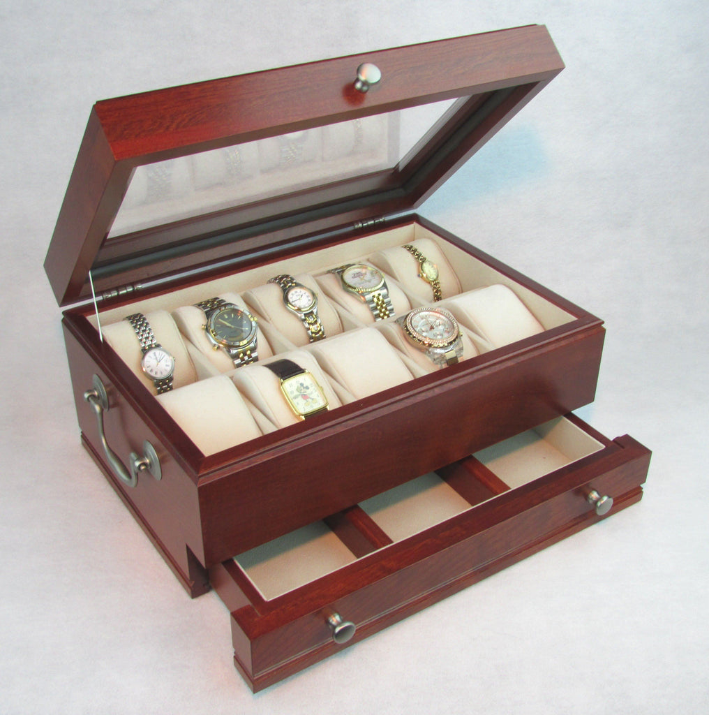 The Captain:  Ten Watch Glass top storage Chest with a Jeweler's Drawer. Solid Cherry - Rich Mahogany Finish. AMISH Crafted in USA!