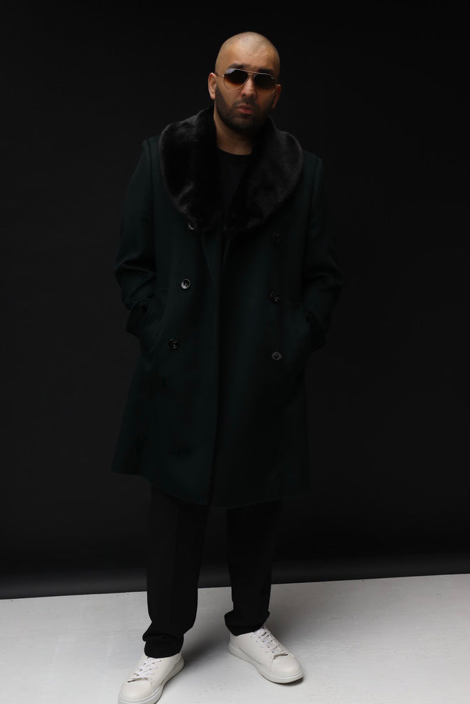 Denaro King - Rounded Faux Fur Collar Wool Cashmere Coat
