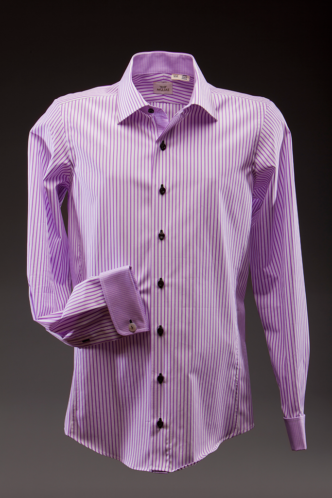 Luciano purple striped Dress Shirt   - mujaestore