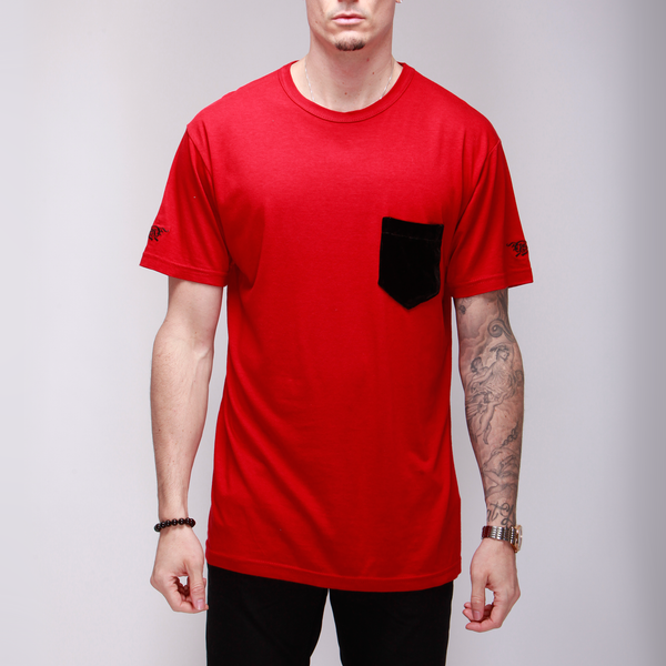Red Cotton Tee with Silk Velvet Pocket  Shirts - mujaestore