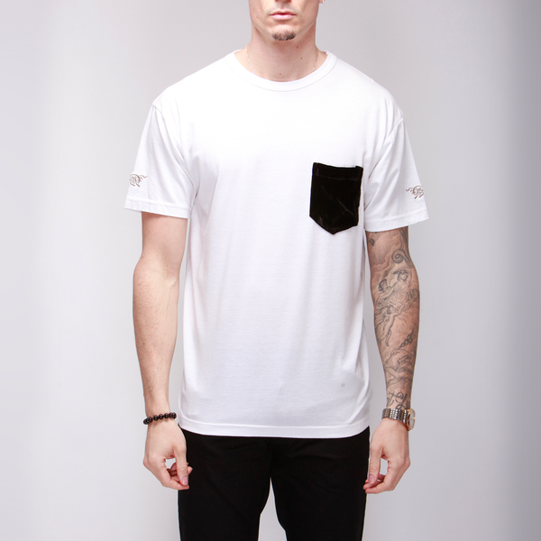 White Cotton Tee with Silk Velvet Pocket  Shirts - mujaestore