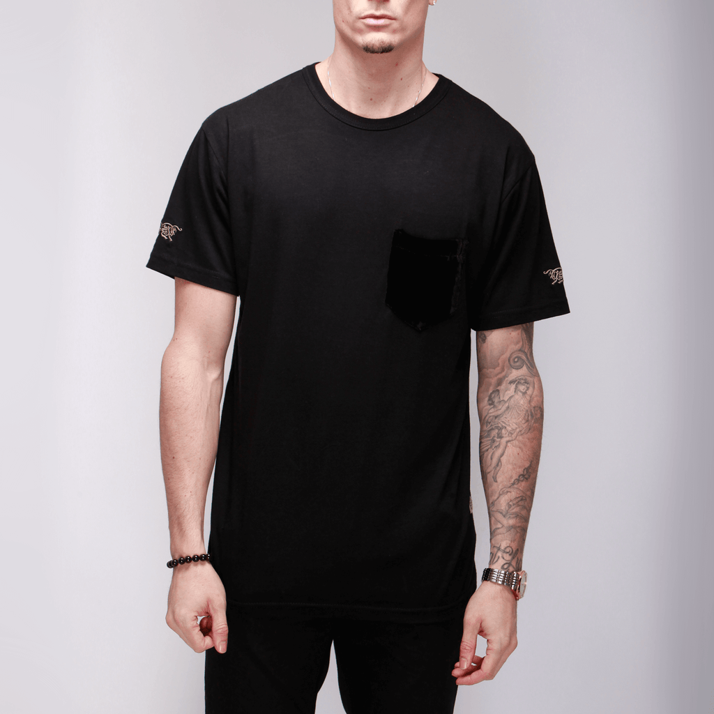 Black Cotton Tee with Silk Velvet Pocket  Shirts - mujaestore
