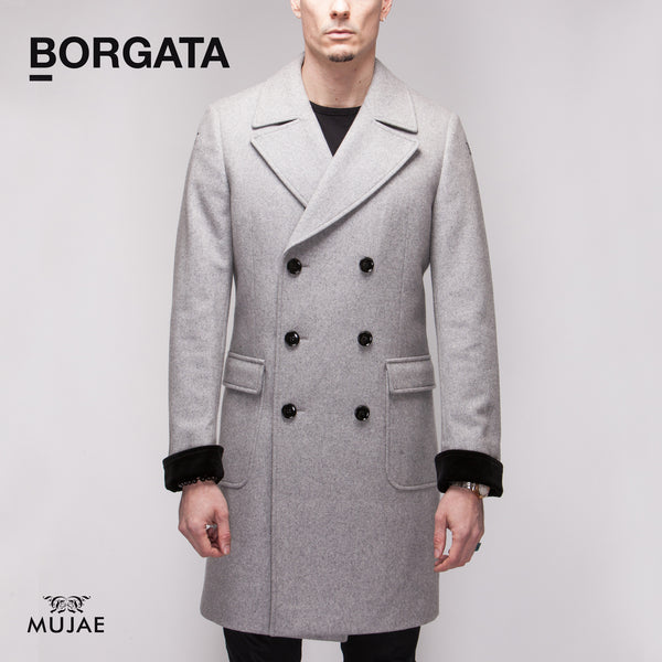 Borgata - Silk Velvet Cuffs Wool Grey Coat  Coats - mujaestore