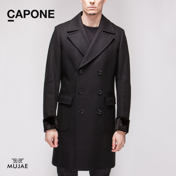 Capone - Silk-Velvet Cuffs Wool Black Coat  Coats - mujaestore