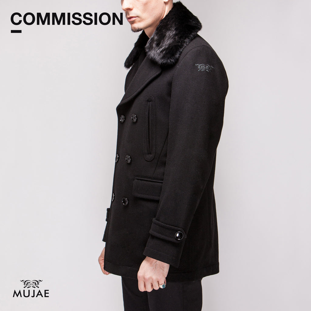 Commission - Rabbit Fur Top Collar Wool PeaCoat  Coats - mujaestore