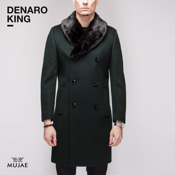Denaro King - Rounded Faux Fur Collar Wool Cashmere Coat  Coats - mujaestore