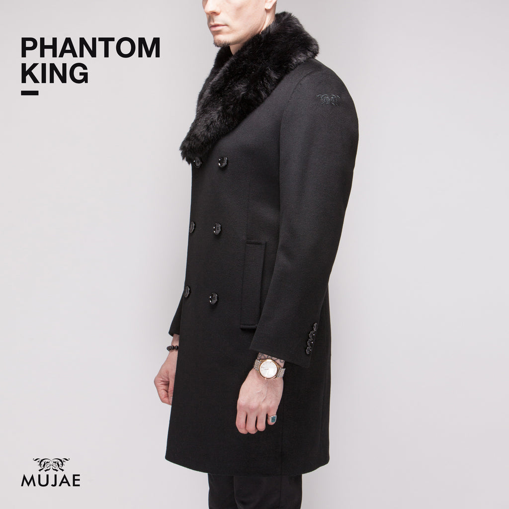 Phantom King - Rounded Faux Fur Collar Wool Cashmere Coat  Coats - mujaestore
