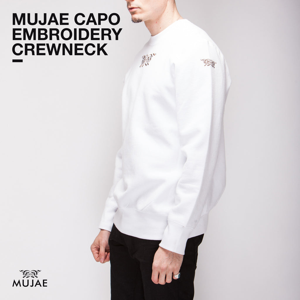 Mujae Capo Embroidery White Crewneck  (Heavy weighted cotton)  Crewnecks - mujaestore