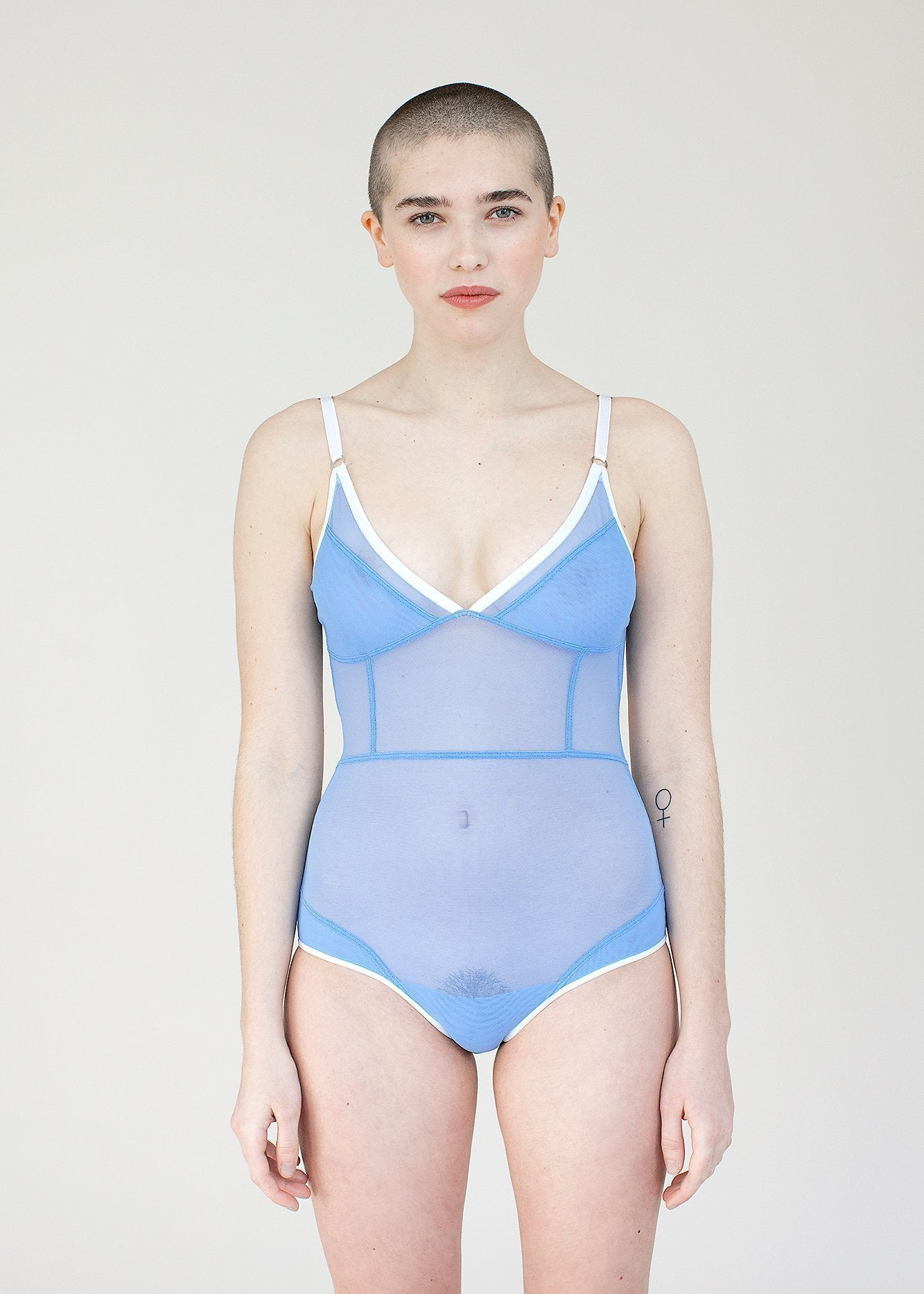 Opal Bodysuit - Blue Sheer Mesh Bodysuit with White Detailing