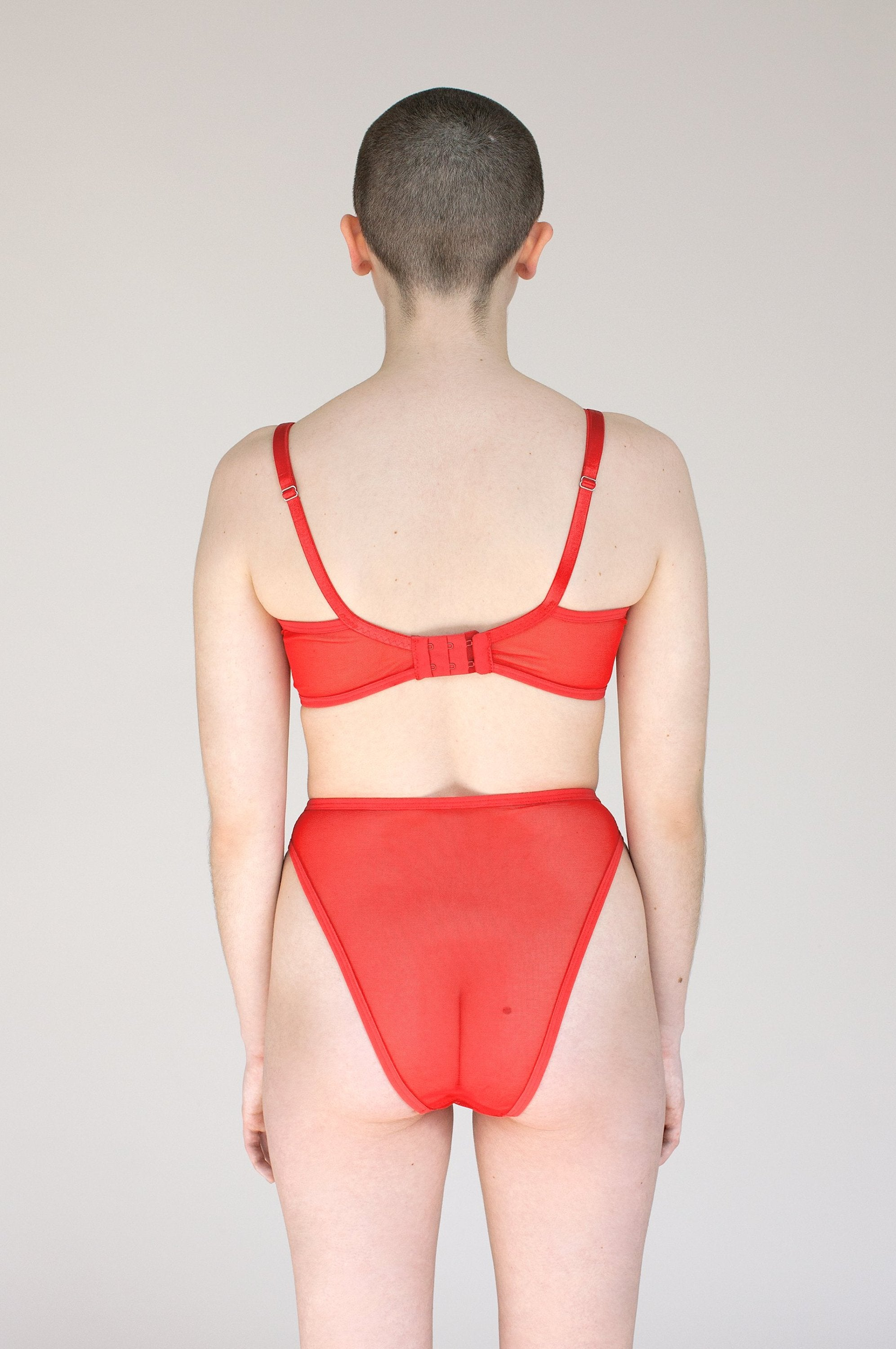 Brick Bra - Sheer Mesh Bra in Red - Lingerie Handmade in Toronto