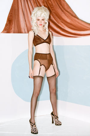 RIDGE PANTIES W GARTERS - BROWN