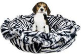 Lily Pod Dog Bed- Zebra and Midnight Frost