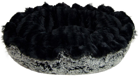 Lily Pod Dog Bed - Black Puma and Midnight Frost