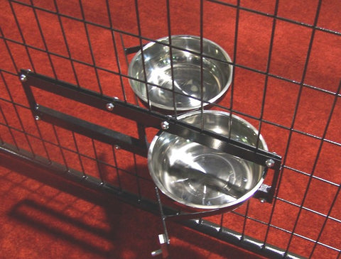 Lucky Dog™ Stainless Steel Double (2 bowls) Rotating Food & Water Pet Bowls (21in. x 8in. X 5in.)