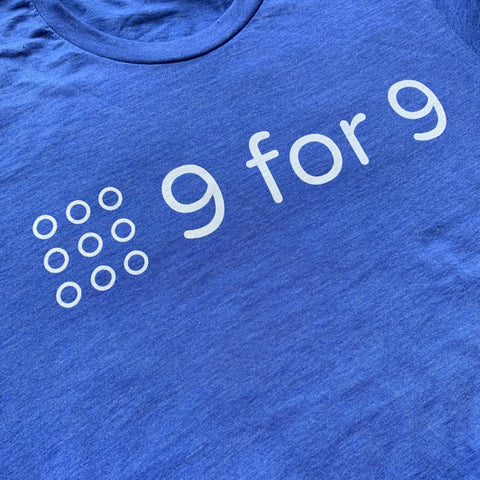 9 for 9 Unisex Tee (Heather Royal Blue)