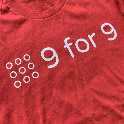9 for 9 Unisex Tee (Red) - 9 for 9